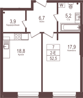 2Е-комнатная, 52.5 м²– 2
