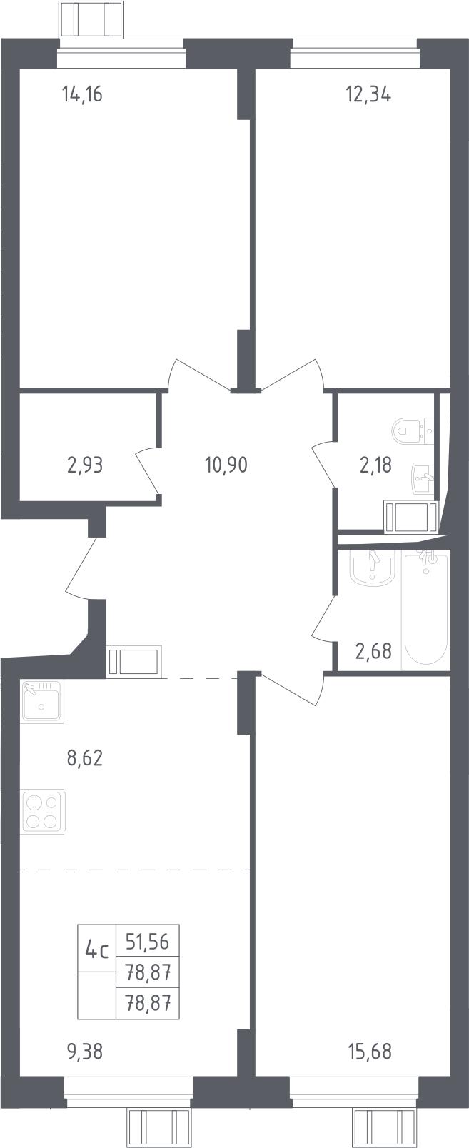4Е-к.кв, 78.87 м², от 12 этажа