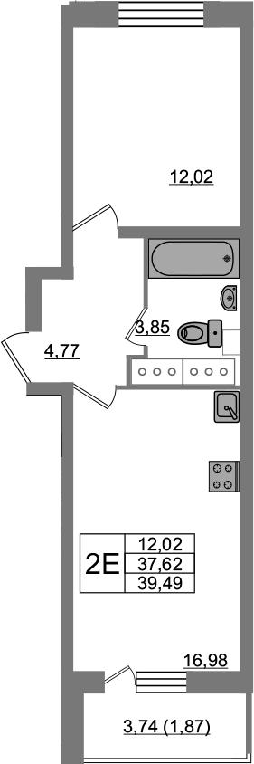 2Е-к.кв, 39.49 м², 23 этаж
