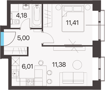 2Е-к.кв, 37.98 м²