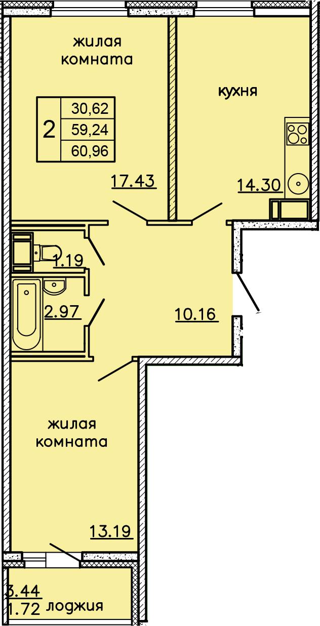 2-к.кв, 62.68 м²