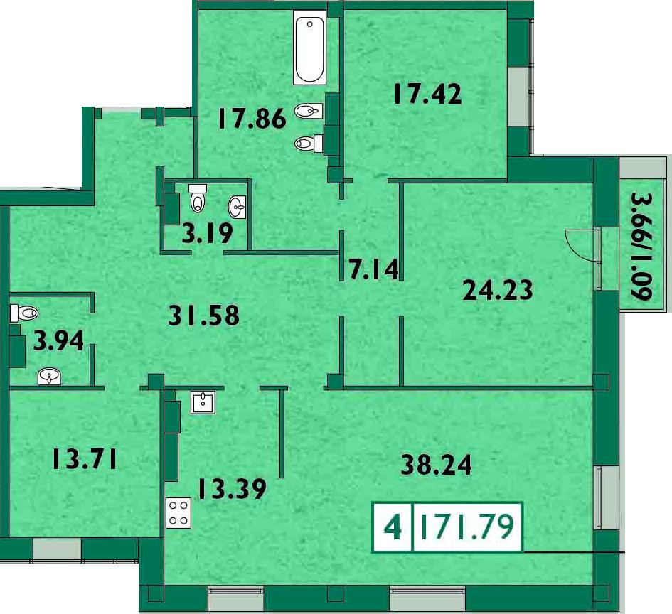 4-комнатная, 172.8 м²– 2