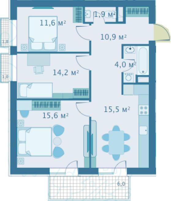 4Е-комнатная, 73.7 м²– 2