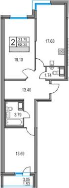 3Е-к.кв, 68.35 м², 25 этаж