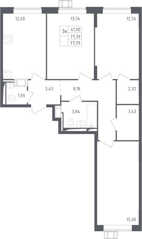 3-комнатная квартира, 77.39 м², 11 этаж – Планировка