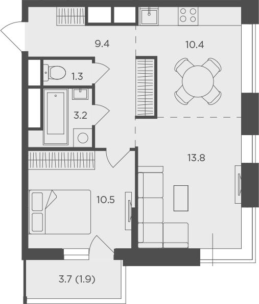 2Е-к.кв, 50.5 м²