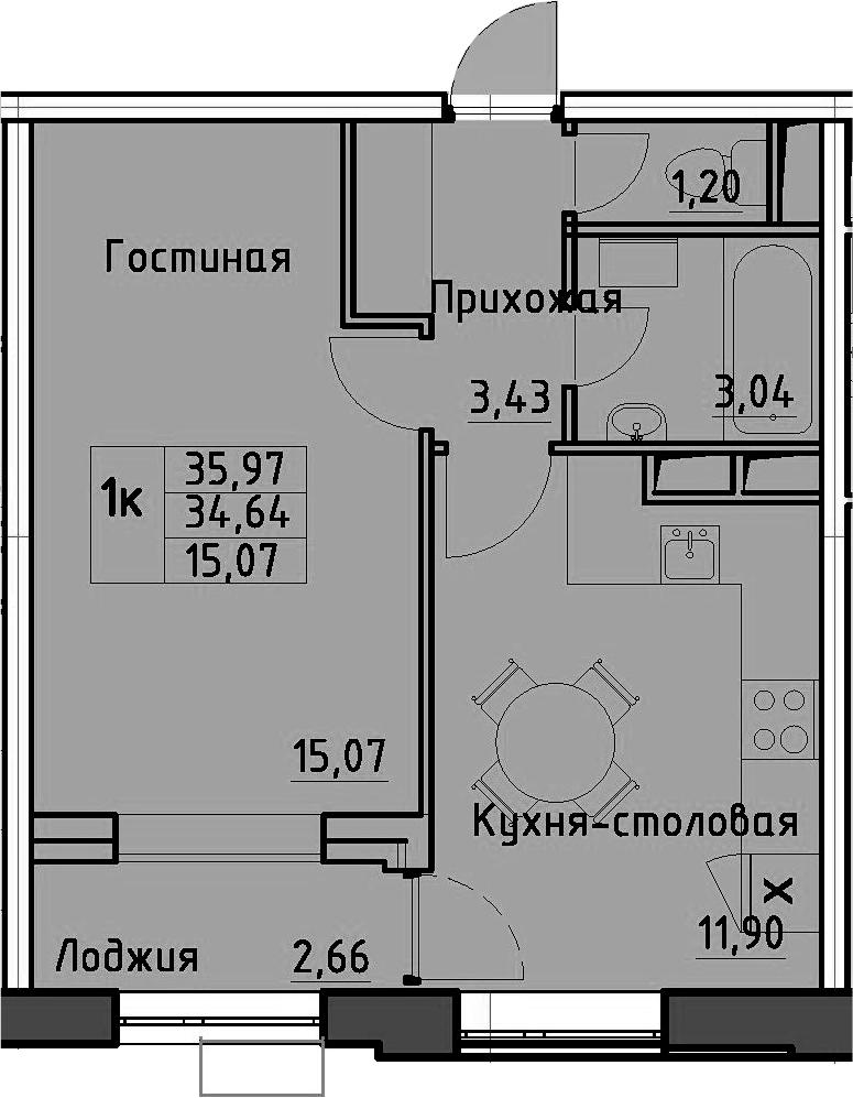 1-к.кв, 35.97 м², 8 этаж