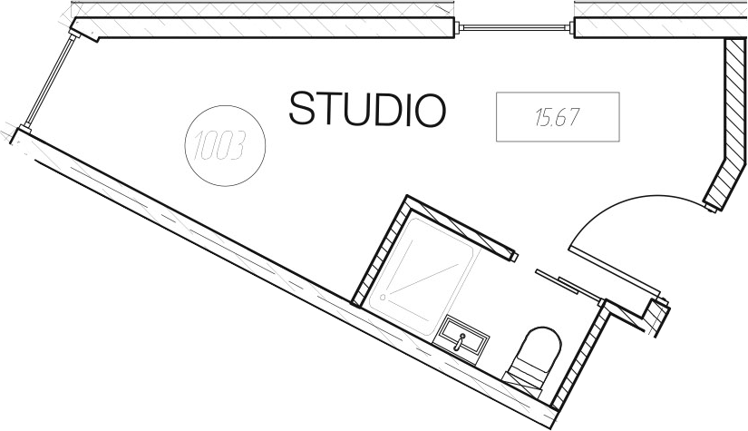 Студия, 15.67 м²– 2