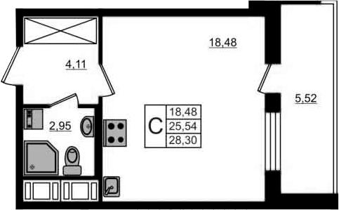 Студия, 31.06 м²