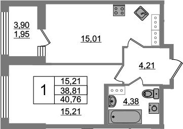 2Е-комнатная, 38.81 м²– 2