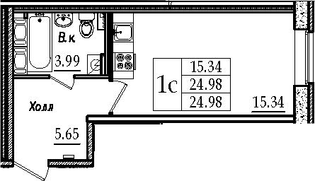 Студия, 24.98 м²– 2