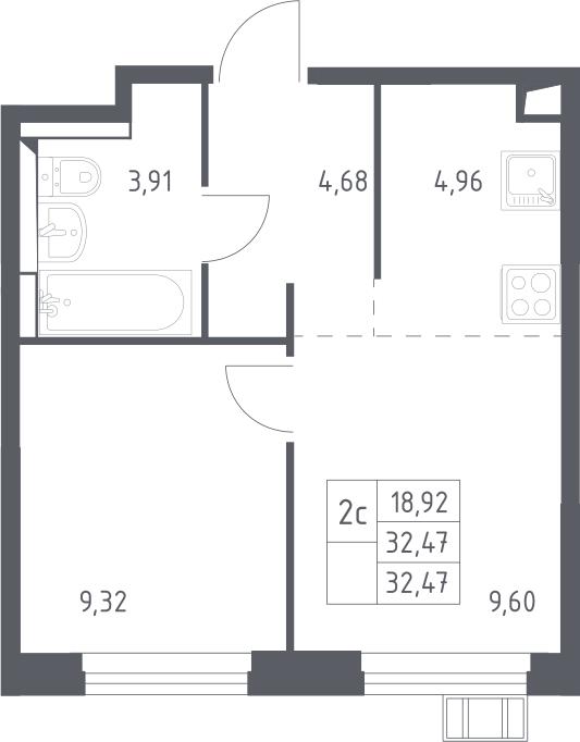 2Е-к.кв, 32.47 м²