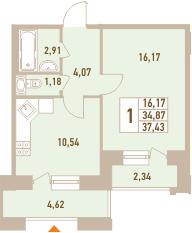 1-к.кв, 41.83 м²