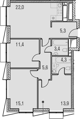 4Е-комнатная, 81 м²– 2