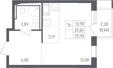 Студия, 25.7 м², 13 этаж