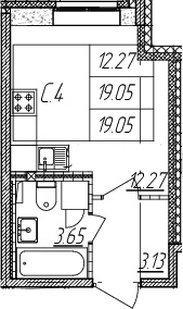 Студия, 19.05 м²