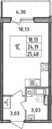 Студия, 25.48 м²– 2