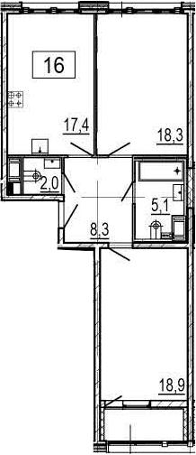 3-к.кв (евро), 73.6 м²