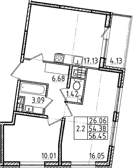 3Е-к.кв, 54.38 м²