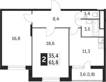 2-к.кв, 61 м², 4 этаж