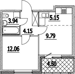 2-к.кв (евро), 39.59 м²
