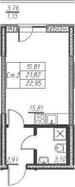 Студия, 25.59 м²