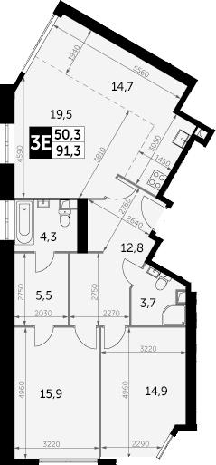 3Е-к.кв, 91.3 м²