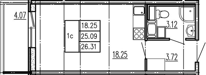 Студия, 29.16 м²