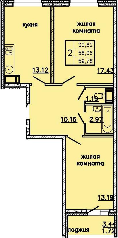 2-к.кв, 61.5 м²