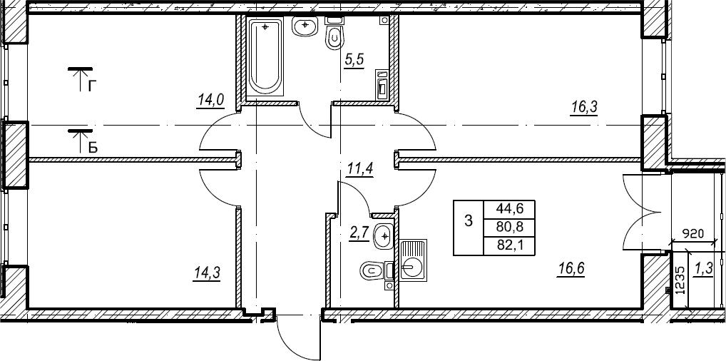 3-к.кв, 82.1 м², 2 этаж