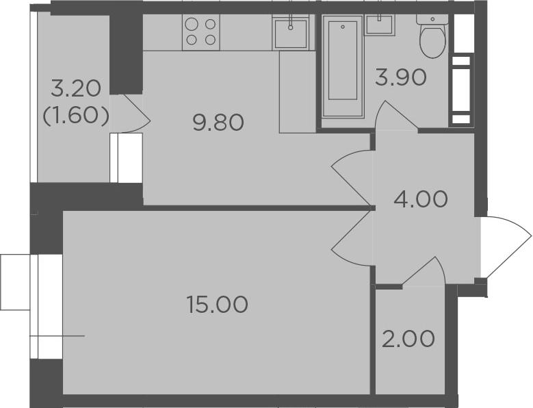 1-к.кв, 36.3 м², от 4 этажа