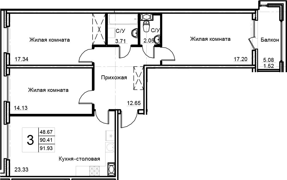 4-к.кв (евро), 95.48 м²