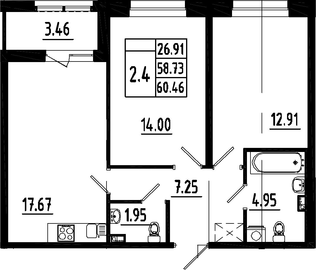 3-к.кв (евро), 62.19 м²