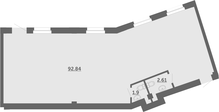 Студия, 97.4 м²