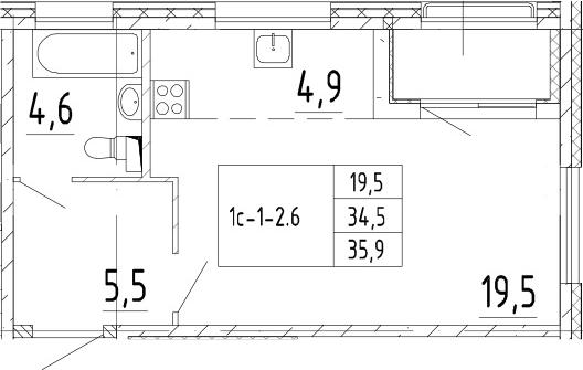 Студия, 35.9 м², 2 этаж