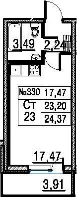 Студия, 27.11 м²