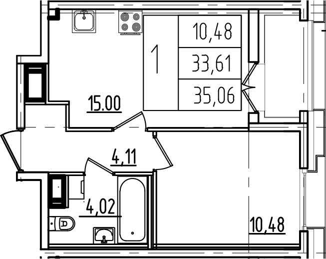 2-к.кв (евро), 36.51 м²