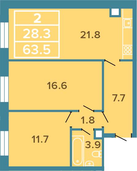 3-к.кв (евро), 63.5 м²