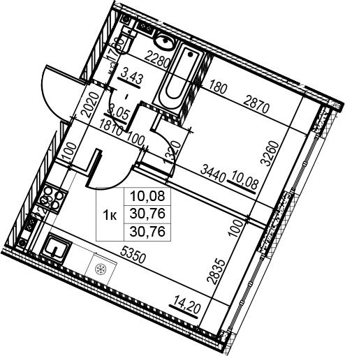 1-к.кв, 30.76 м²