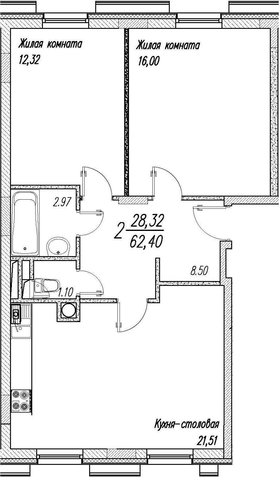 3-к.кв (евро), 62.4 м²
