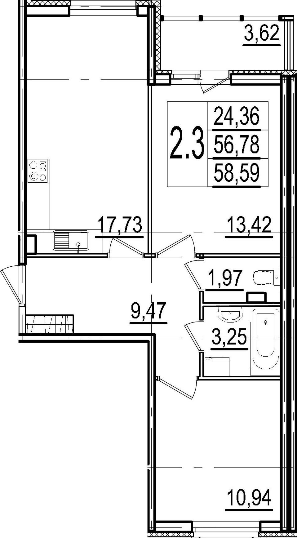 3-к.кв (евро), 60.4 м²