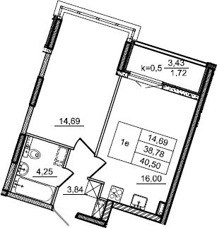 2Е-к.кв, 40.5 м², 2 этаж
