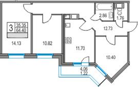 3-к.кв, 64.4 м²