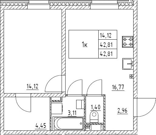 1-к.кв, 42.81 м²