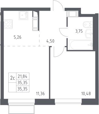 2Е-к.кв, 35.35 м², 19 этаж