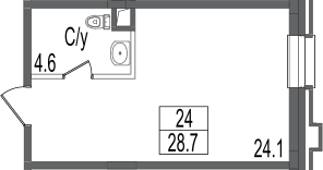 Своб. план., 28.7 м²