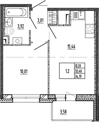 2-к.кв (евро), 35.98 м²