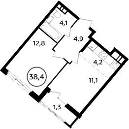 2Е-к.кв, 38.4 м², 16 этаж
