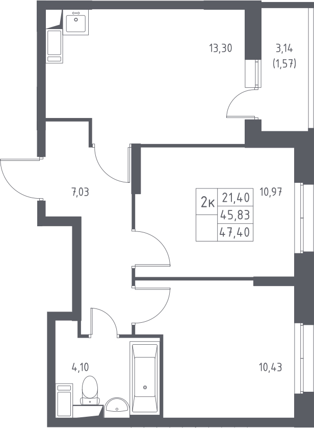 2-к.кв, 47.4 м²