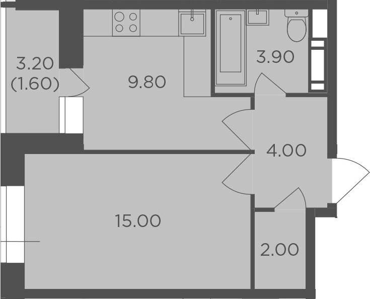 1-к.кв, 36.3 м², 5 этаж